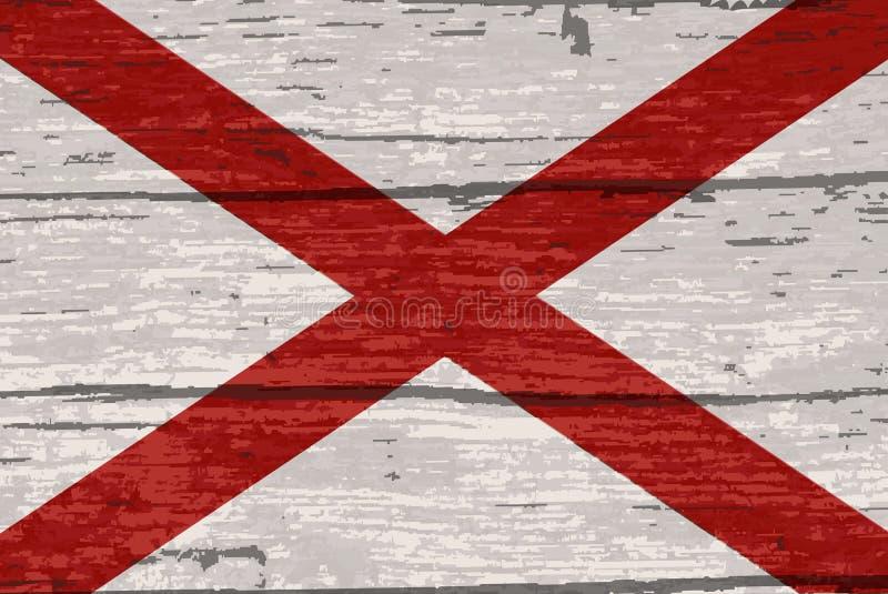 De Vlag van de Staat van Alabama op Oud Hout stock illustratie