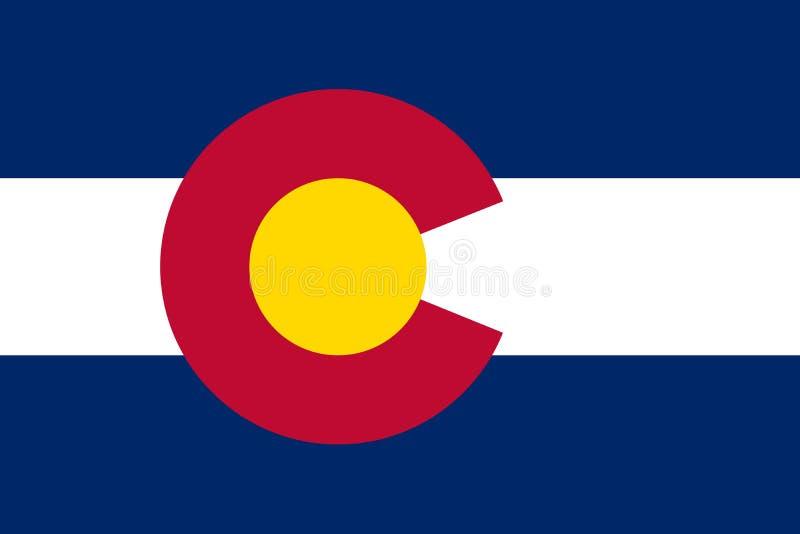 De Vlag van de Staat van Colorado Het symbool van de staat van de V.S. Vector illustratie royalty-vrije illustratie