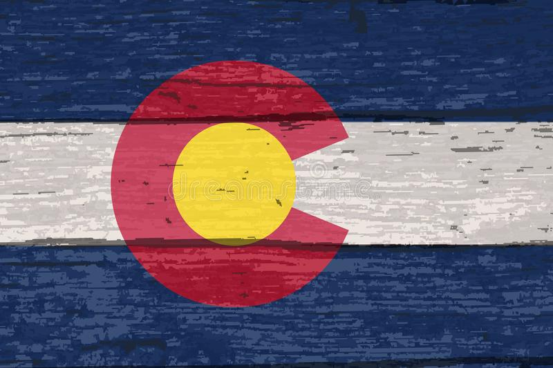 De Vlag van de Staat van Colorado op Oud Hout royalty-vrije illustratie