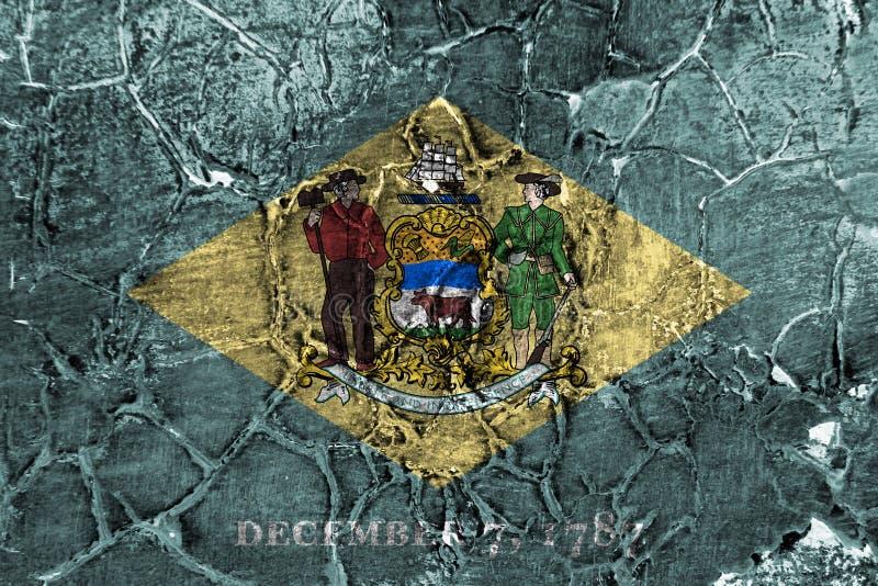 De vlag van de staat van Delaware grunge, de Verenigde Staten van Amerika stock fotografie