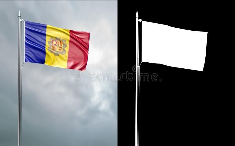 De vlag van de staat van het Prinsdom van Andorra met alfakanaal vector illustratie