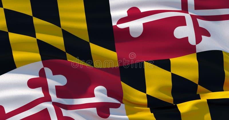 De vlag van de staat van Maryland, de V.S. Patriottische Achtergrond 3D Illustratie vector illustratie