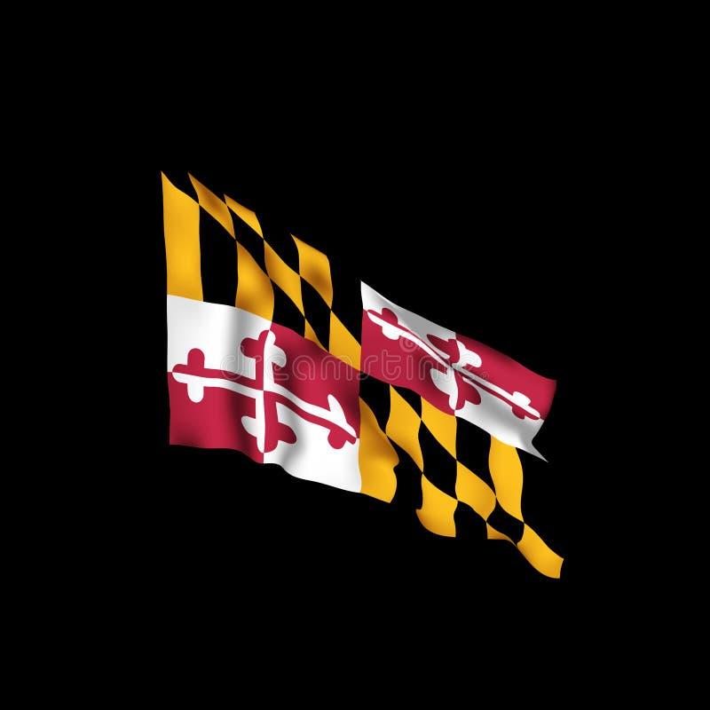 De Vlag van de Staat van Maryland Vectorillustratie van de vlag van Maryland, de V.S. stock illustratie