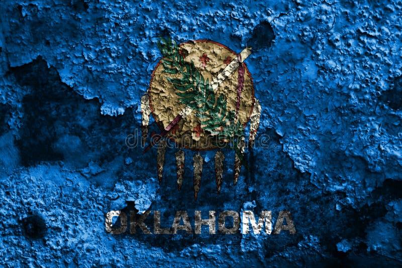 De vlag van de staat van Oklahoma grunge, de Verenigde Staten van Amerika stock fotografie
