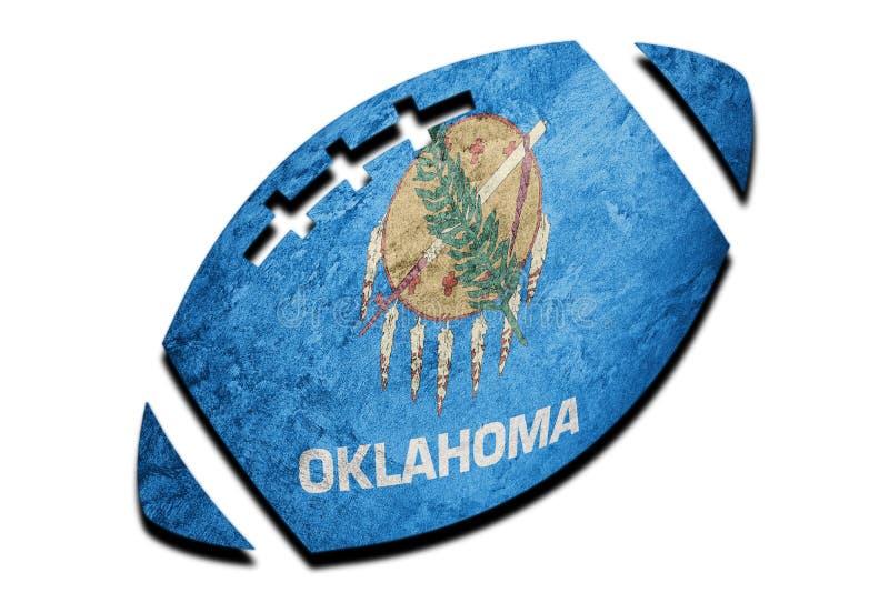 De vlag van de staat van Oklahoma van de rugbybal De vlag van achtergrond Oklahoma Rugby B stock afbeelding