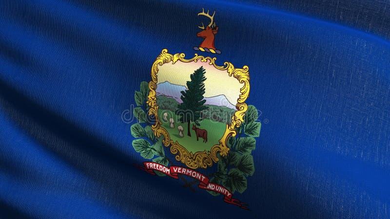 De vlag van de staat van Vermont in de Verenigde Staten van Amerika, de V.S., die in de geïsoleerde wind blazen Officieel patriot stock illustratie