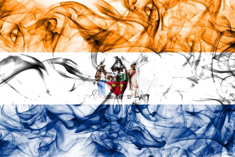 De vlag van de de stadsrook van Albany, Nieuwe Yor-Staat, de Verenigde Staten van Amerika stock afbeeldingen