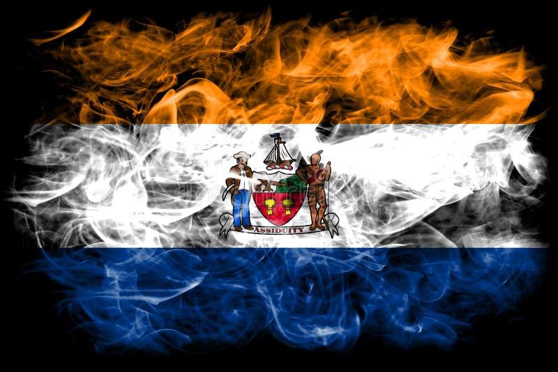 De vlag van de de stadsrook van Albany, de Staat van New York, de Verenigde Staten van Amerika royalty-vrije stock foto's