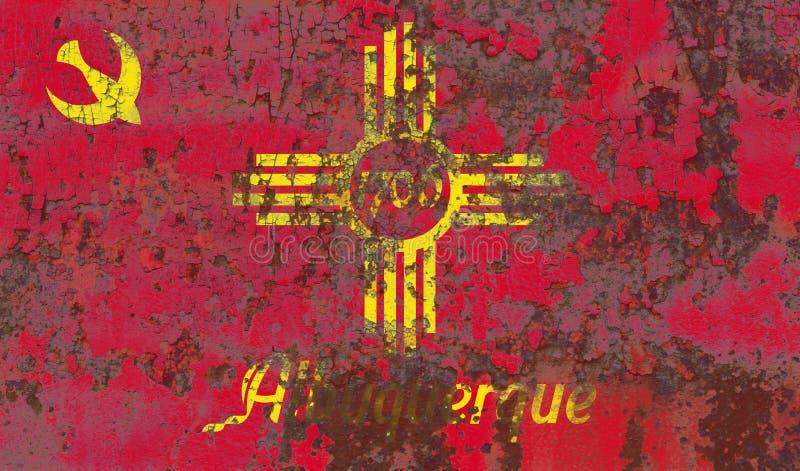 De vlag van de de stadsrook van Albuquerque, de Staat van New Mexico, Verenigde Staten van stock fotografie