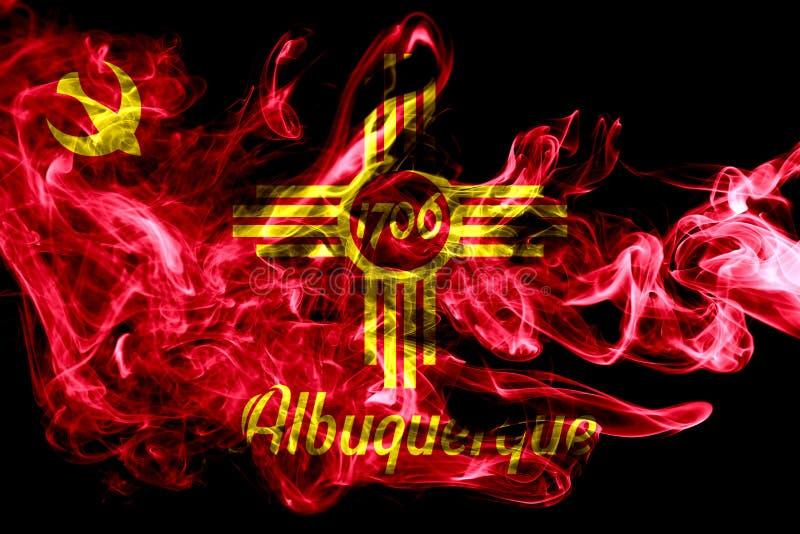 De vlag van de de stadsrook van Albuquerque, de Staat van New Mexico, Verenigde Staten van stock foto