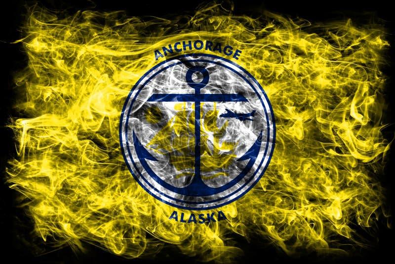 De vlag van de de stadsrook van Anchorage, de Staat van Alaska, de Verenigde Staten van Amerika stock illustratie