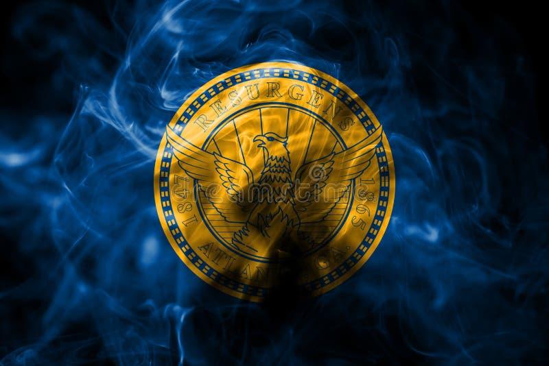 De vlag van de de stadsrook van Atlanta, Georgia State, de Verenigde Staten van Amerika royalty-vrije stock fotografie