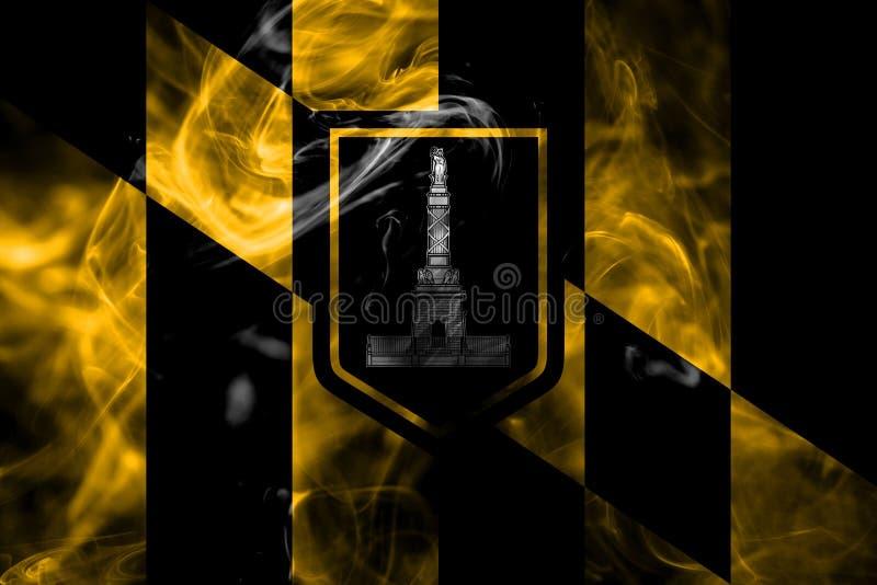 De vlag van de de stadsrook van Baltimore, de Staat van Maryland, Verenigde Staten van Amer royalty-vrije stock afbeeldingen