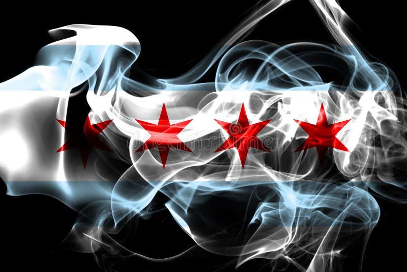 De vlag van de de stadsrook van Chicago, de Staat van Illinois, Verenigde Staten van Americ stock illustratie