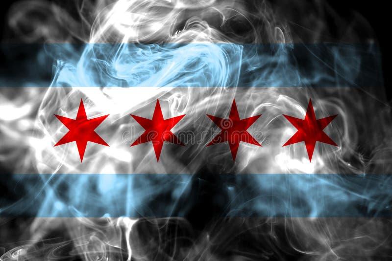 De vlag van de de stadsrook van Chicago, de Staat van Illinois, Verenigde Staten van Americ stock foto