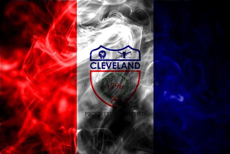 De vlag van de de stadsrook van Cleveland, de Staat van Ohio, de Verenigde Staten van Amerika stock afbeeldingen
