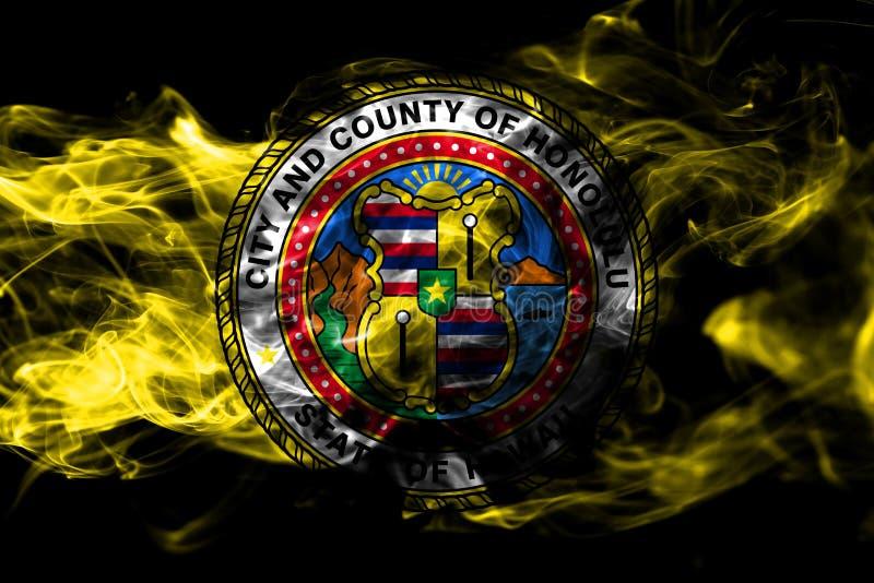 De vlag van de de stadsrook van Honolulu, de Staat van Hawaï, de Verenigde Staten van Amerika stock afbeelding