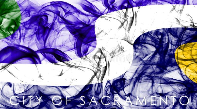 De vlag van de de stadsrook van Sacramento, de Staat van Californië, de Verenigde Staten van Amerika stock foto's