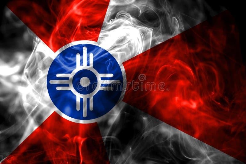 De vlag van de de stadsrook van Wichita, de Staat van Kansas, de Verenigde Staten van Amerika royalty-vrije illustratie