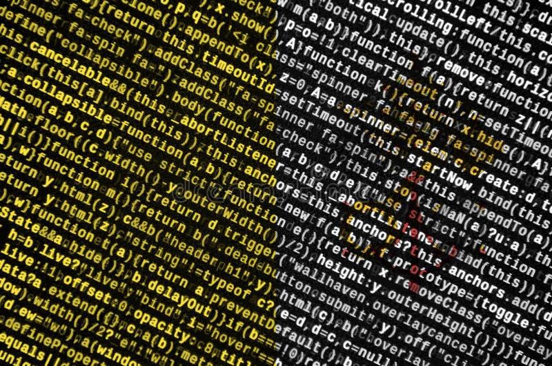 De vlag van de Stadstaat van Vatikaan wordt afgeschilderd op het scherm met de programmacode Het concept moderne technologie en p stock illustratie