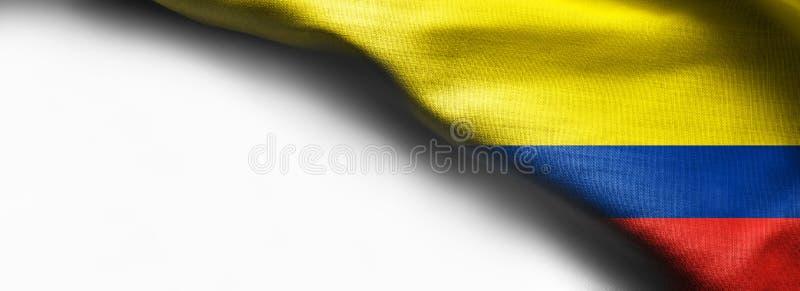 De vlag van de stoffentextuur van Colombia op witte achtergrond - juiste hoogste hoek royalty-vrije stock foto's