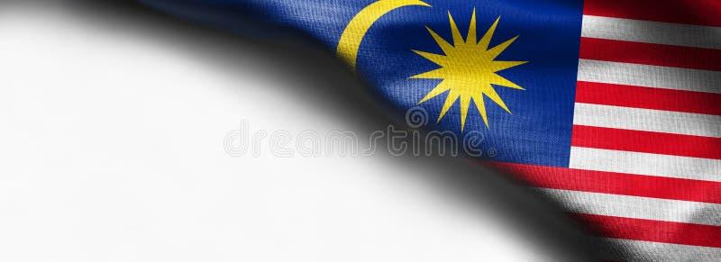 De vlag van de stoffentextuur van Maleisië op witte achtergrond royalty-vrije stock afbeelding