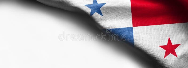 De vlag van de stoffentextuur van Panama op witte achtergrond royalty-vrije stock foto