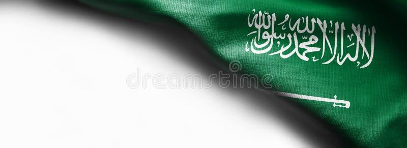 De vlag van de stoffentextuur van Saudi-Arabië op witte achtergrond royalty-vrije stock afbeelding