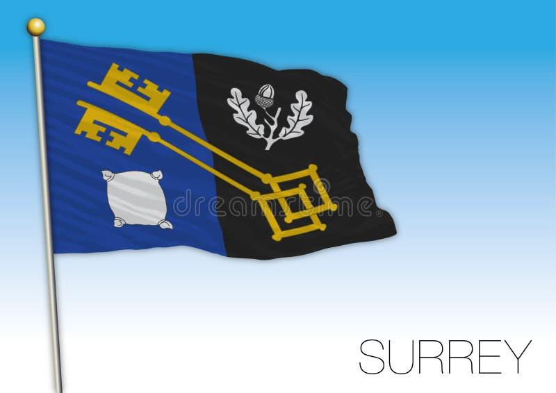De vlag van Surrey, het Verenigd Koninkrijk, provincie van het UK royalty-vrije illustratie
