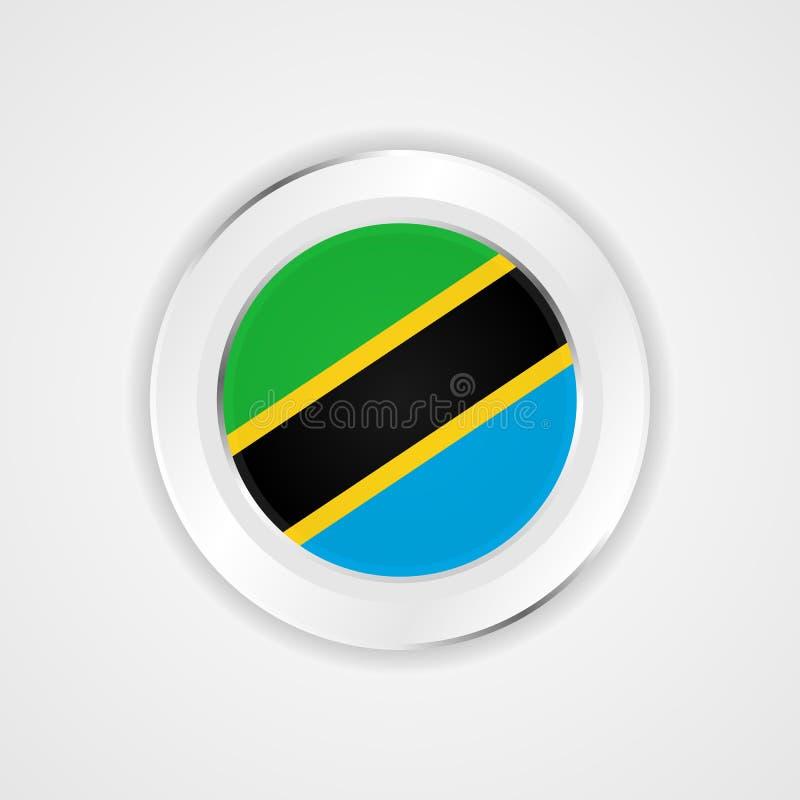 De vlag van Tanzania in glanzend pictogram royalty-vrije illustratie