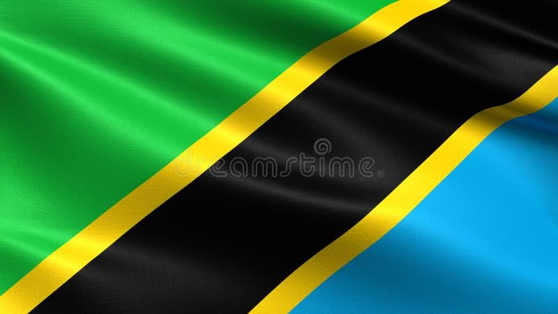 De vlag van Tanzania, met het golven stoffentextuur royalty-vrije stock afbeeldingen