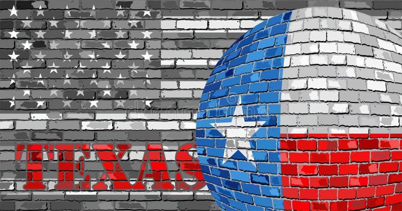 De vlag van Texas op de grijze V.S. markeert achtergrond vector illustratie