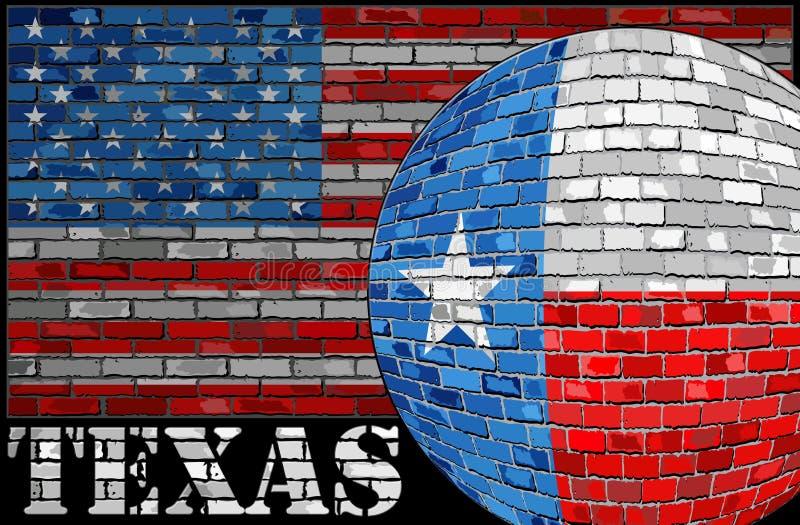 De vlag van Texas op de V.S. markeert achtergrond stock illustratie
