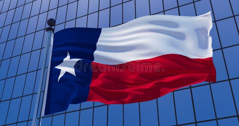 De vlag van Texas op wolkenkrabber de bouwachtergrond 3D Illustratie vector illustratie