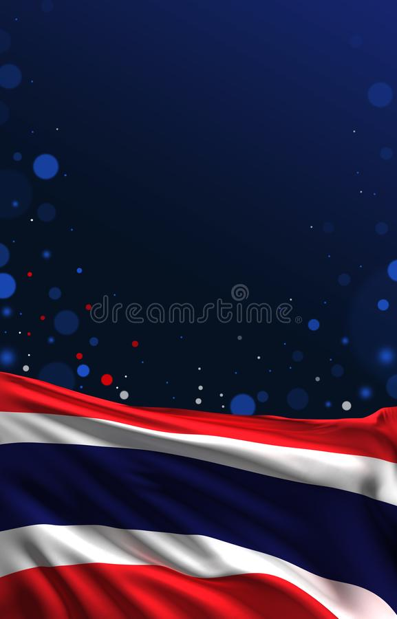 De vlag van Thailand, het 3D zijde Thaise kleuren 3D teruggeven vector illustratie