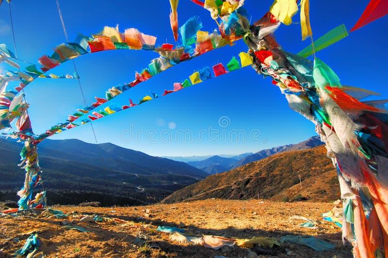 De vlag van Tibet stock afbeeldingen