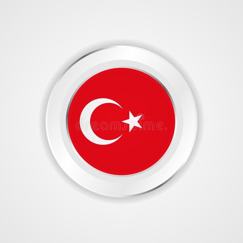 De vlag van Turkije in glanzend pictogram royalty-vrije illustratie
