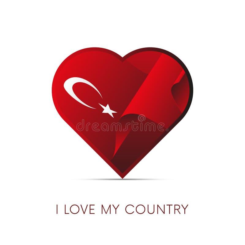 De vlag van Turkije in hart Ik houd van mijn land teken Vector royalty-vrije illustratie