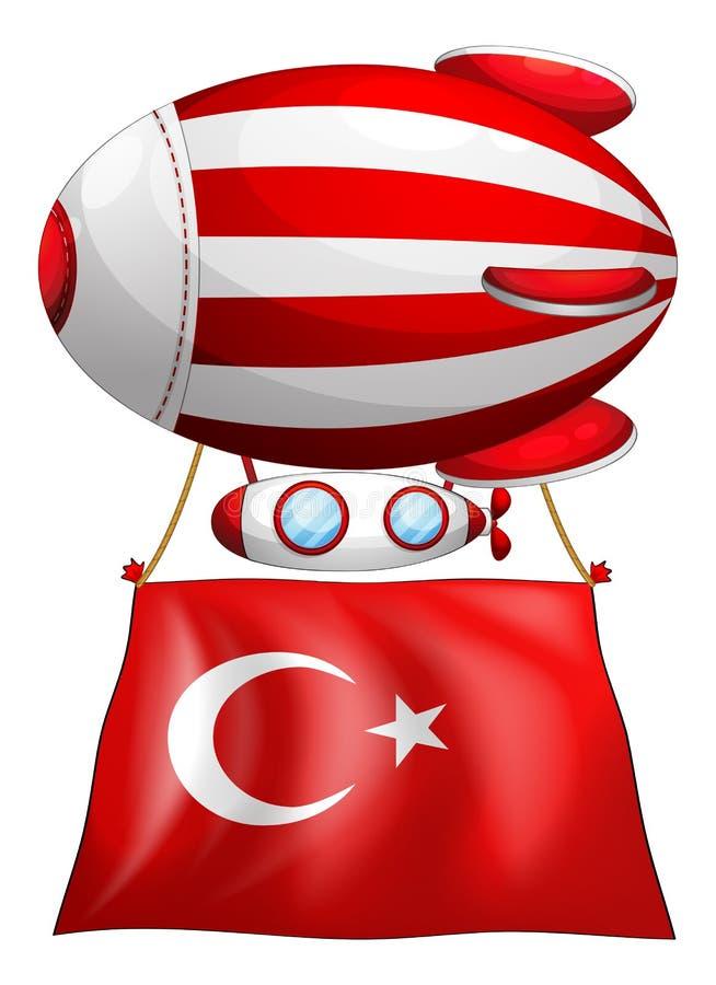 De vlag van Turkije maakte aan drijvende ballon vast vector illustratie