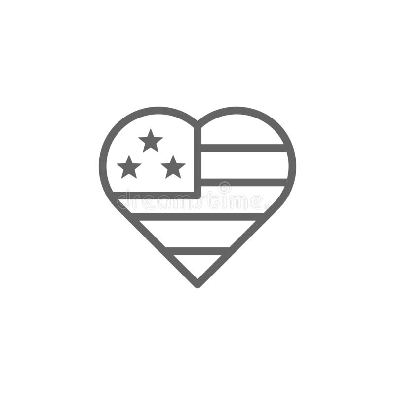 De vlag van de V.S., hartpictogram Element van vierde van juli-pictogram Dun lijnpictogram voor websiteontwerp en ontwikkeling, a stock illustratie