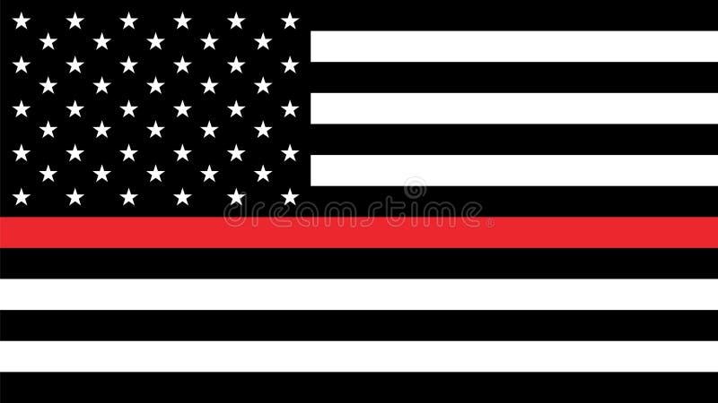 De vlag van de V.S. met dun een rode lijn stock illustratie