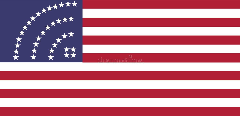 De vlag van de V.S. met het tekensterren van het wifipictogram royalty-vrije illustratie