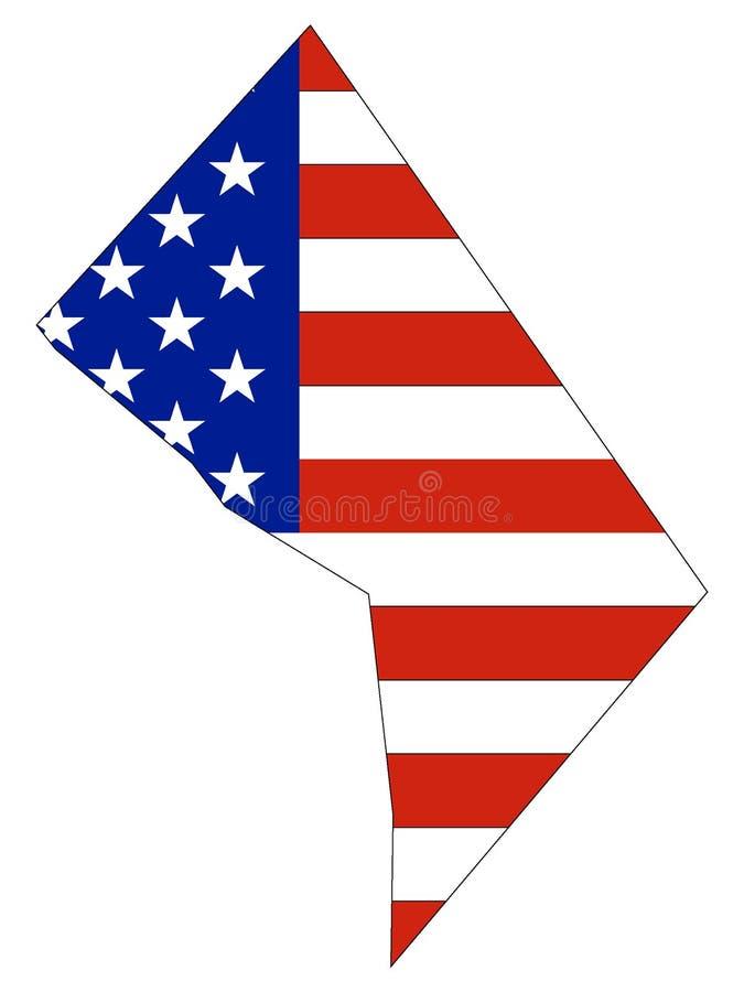 De Vlag van de V.S. met de Kaart van District van Washington wordt gecombineerd dat vector illustratie