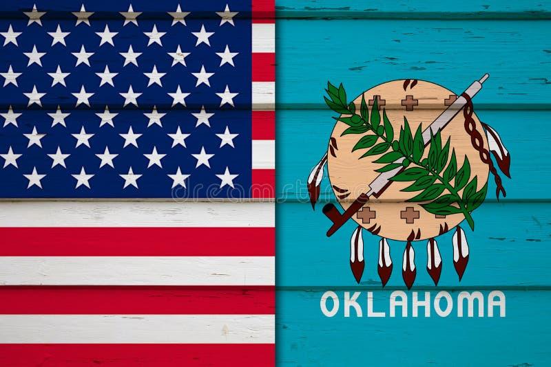 De vlag van de V.S. met vlag van Oklahoma royalty-vrije stock afbeelding