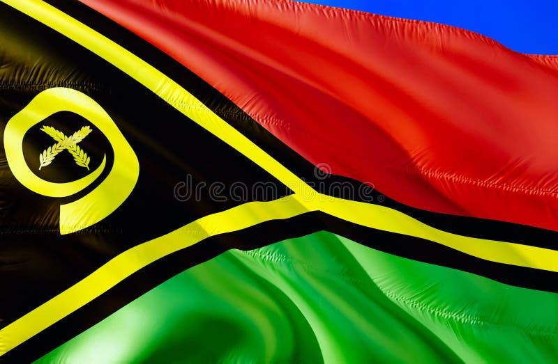 De vlag van Vanuatu 3D het Golven vlagontwerp E Nationale kleuren en Nationale vlag van Vanuatu stock afbeeldingen