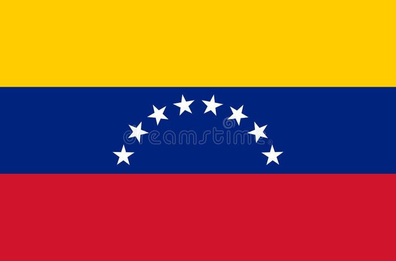 De vlag van Venezuela, officieel kleuren en aandeel correct De nationale vlag van Venezuela Vector illustratie EPS10 De vlag van  royalty-vrije illustratie