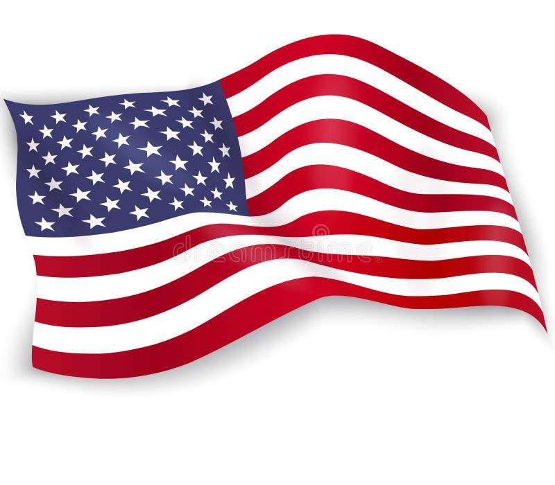 De vlag van de Verenigde Staten van Amerika op witte achtergrond wordt ge?soleerd die De ster-spangled banner van de V.S. Herdenk royalty-vrije illustratie
