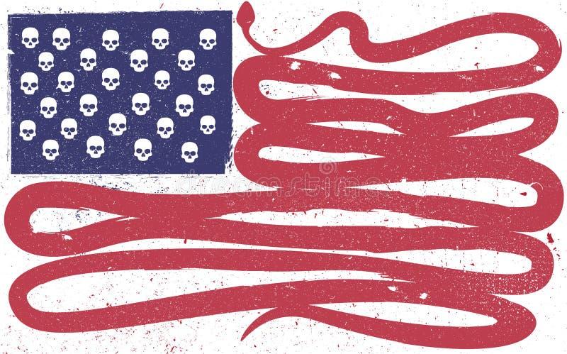 De vlag van Verenigde Staten in de vorm van schedels en grote slang vector illustratie