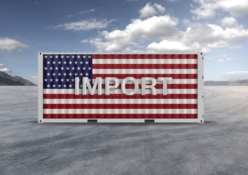 De vlag van Verenigde Staten het 3d teruggeven container royalty-vrije stock foto's