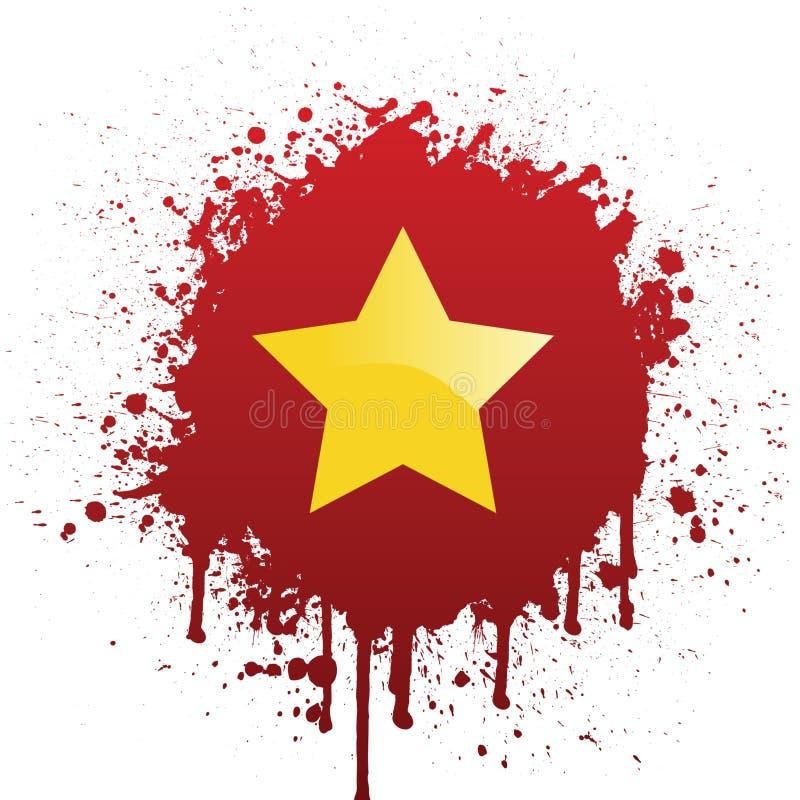 De Vlag van Vietnam in Rode Spat stock illustratie